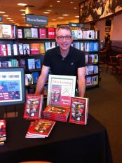 Sandy Shaller with our book display at Dublin, CA Barnes and Noble